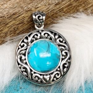 Sterling NK TURQUOISE Large Round Pendant Gorgeous